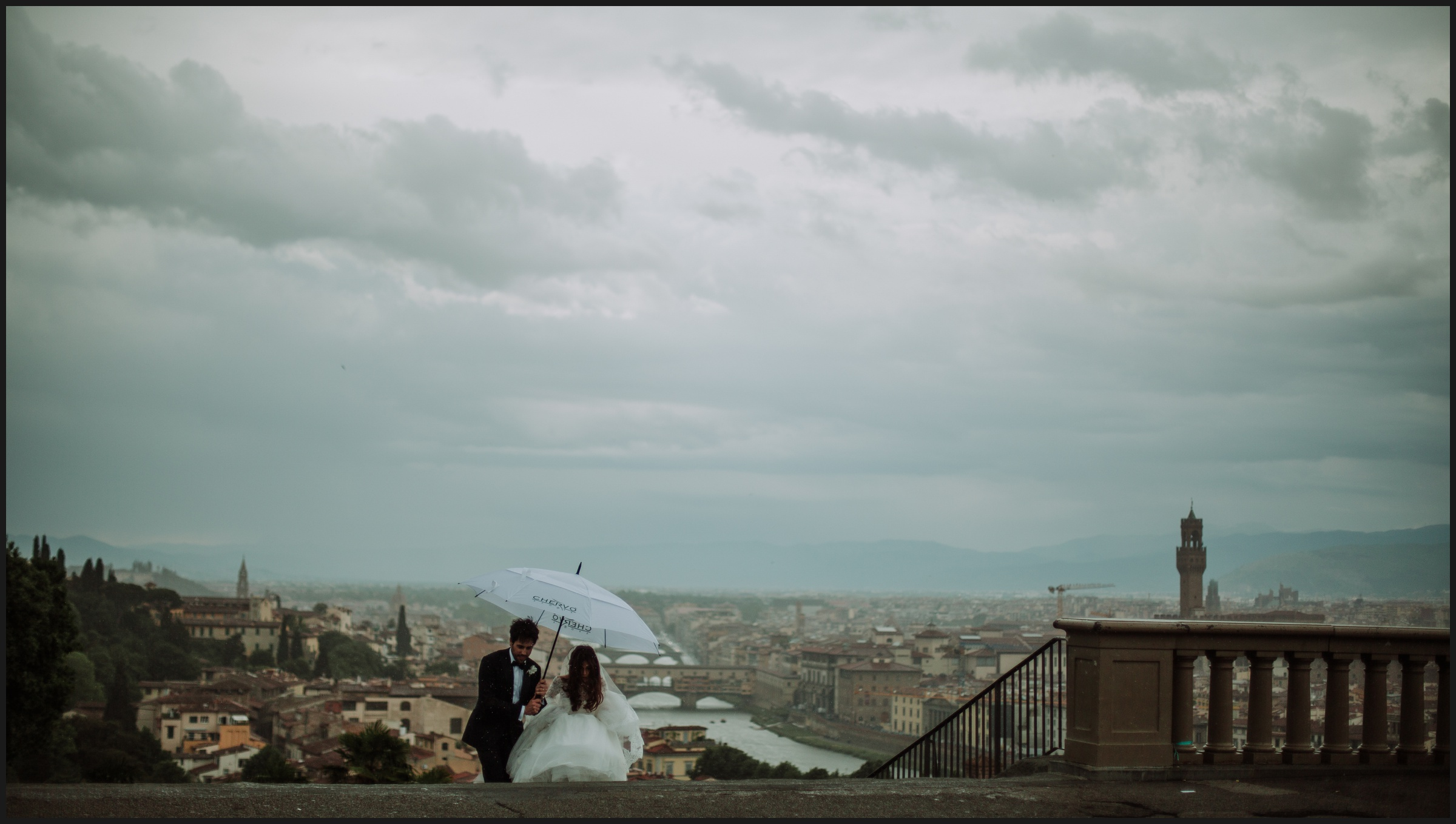 bride and groom with Florence panorama