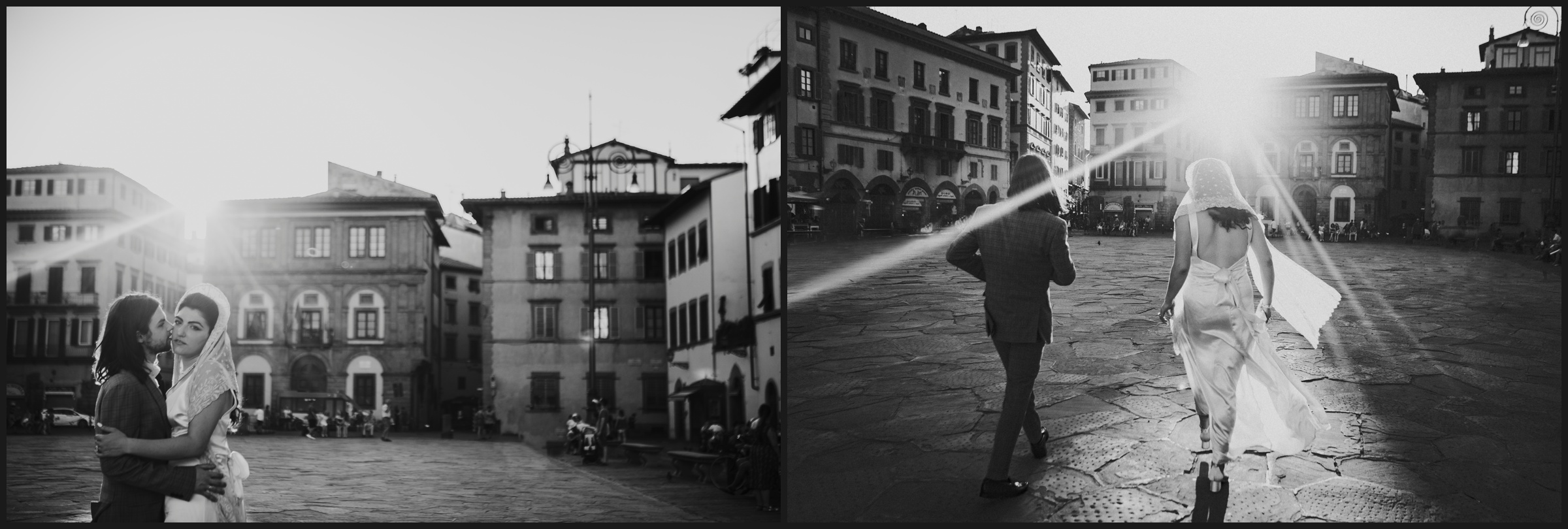 post wedding session in Tuscany, black and white pictures