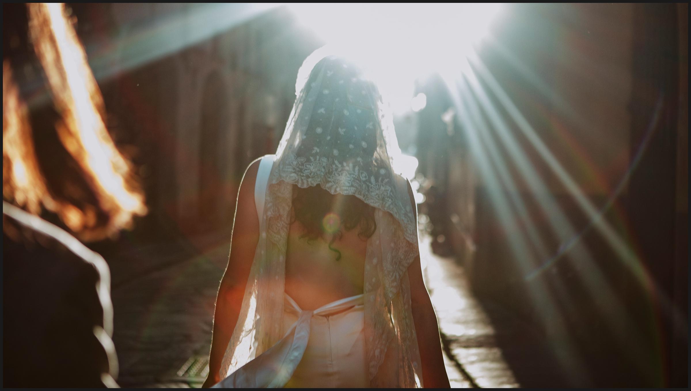 sunset light, bride