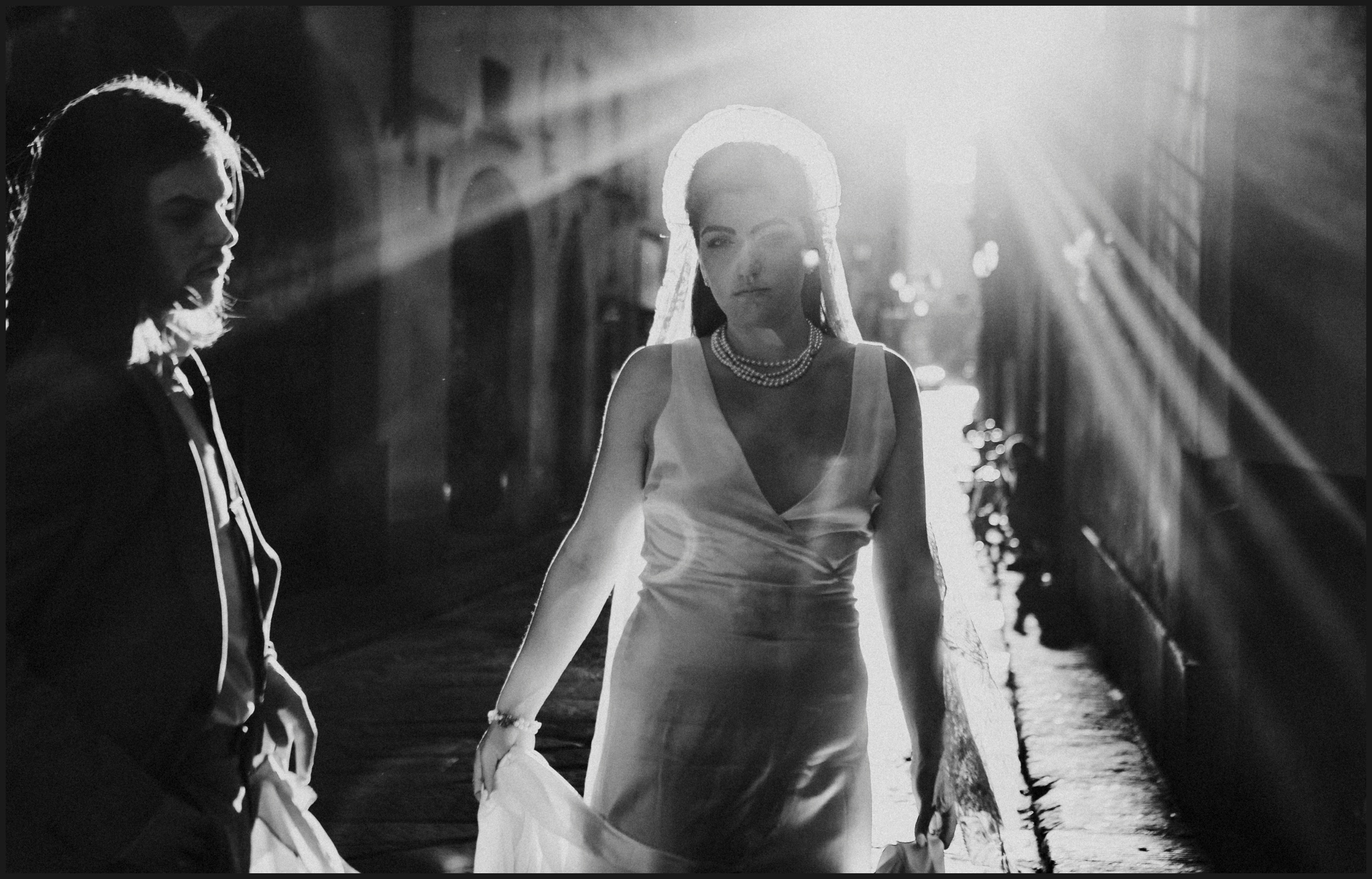 post wedding session, bride and light