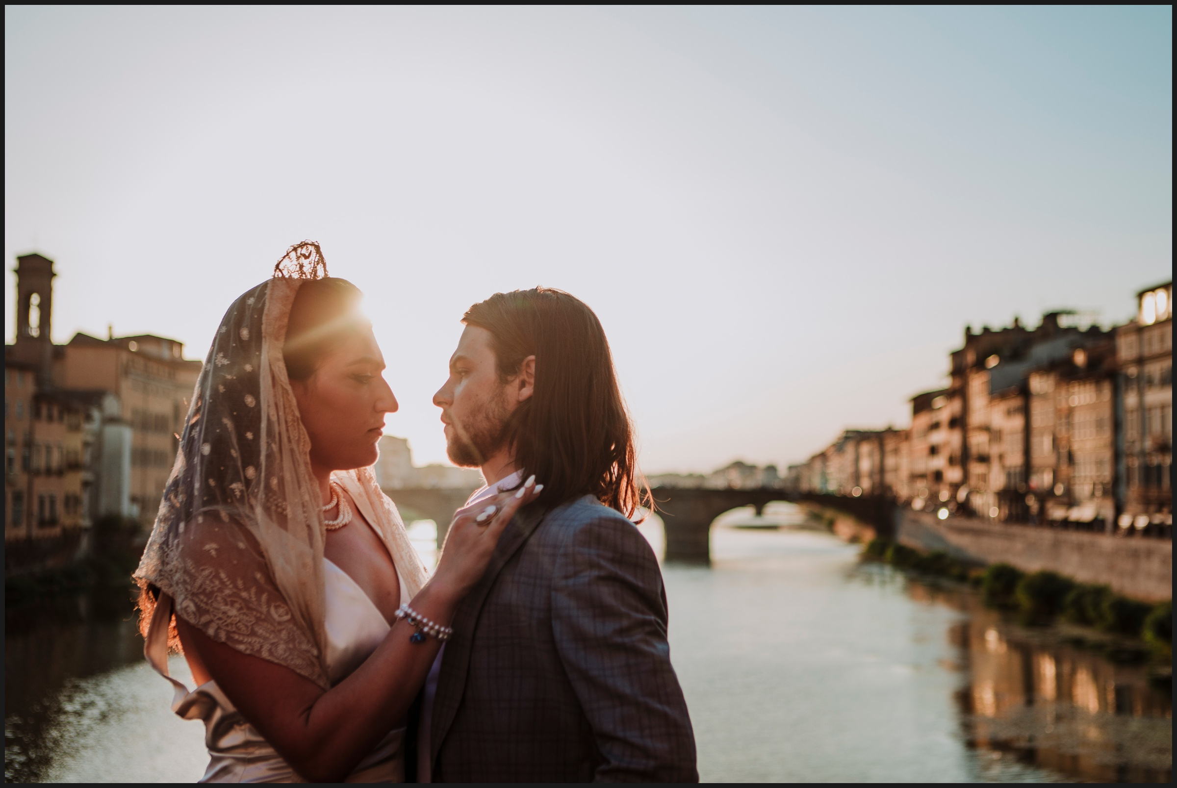 post wedding session in Florence Old Bridge