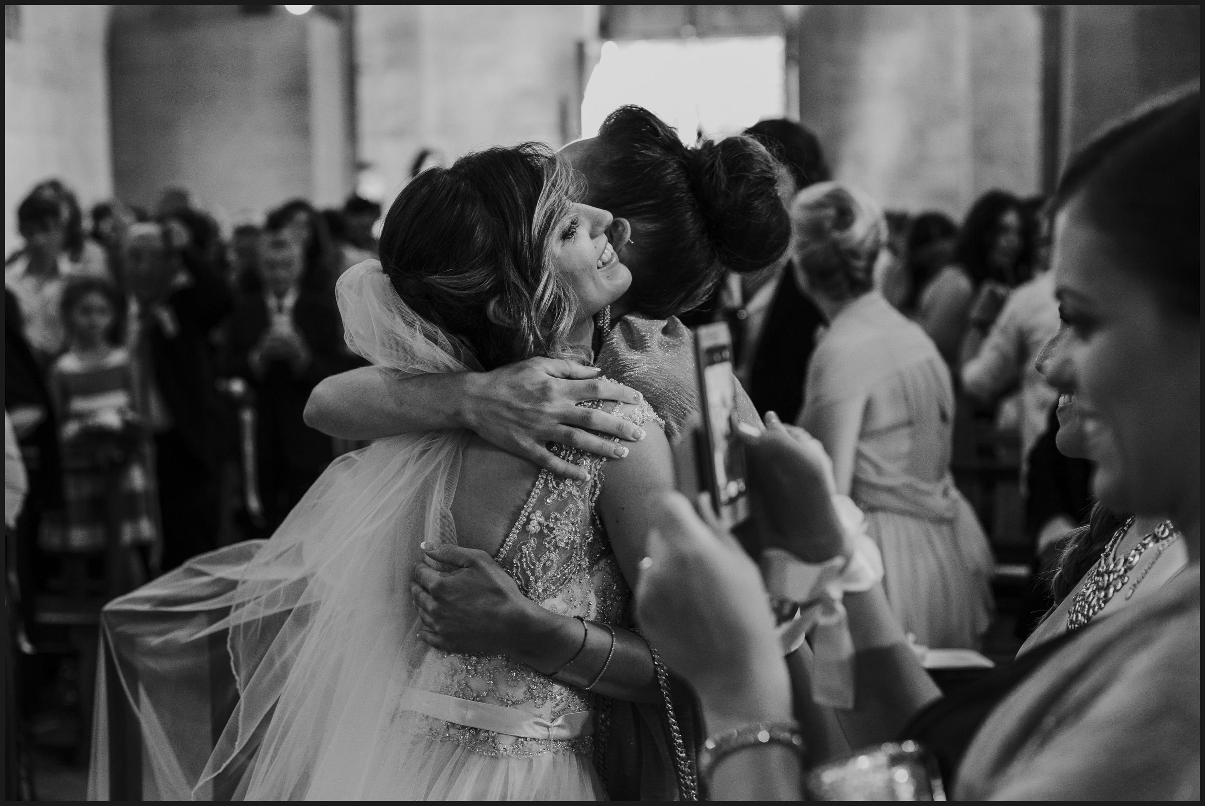 wedding ceremony, bride hug