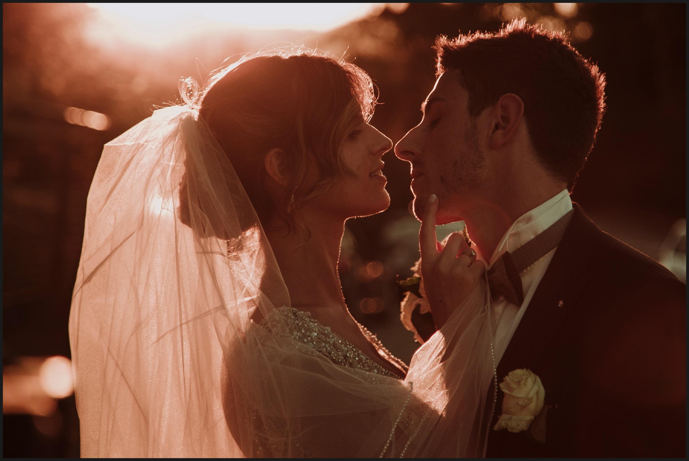 bride, groom and sunset light