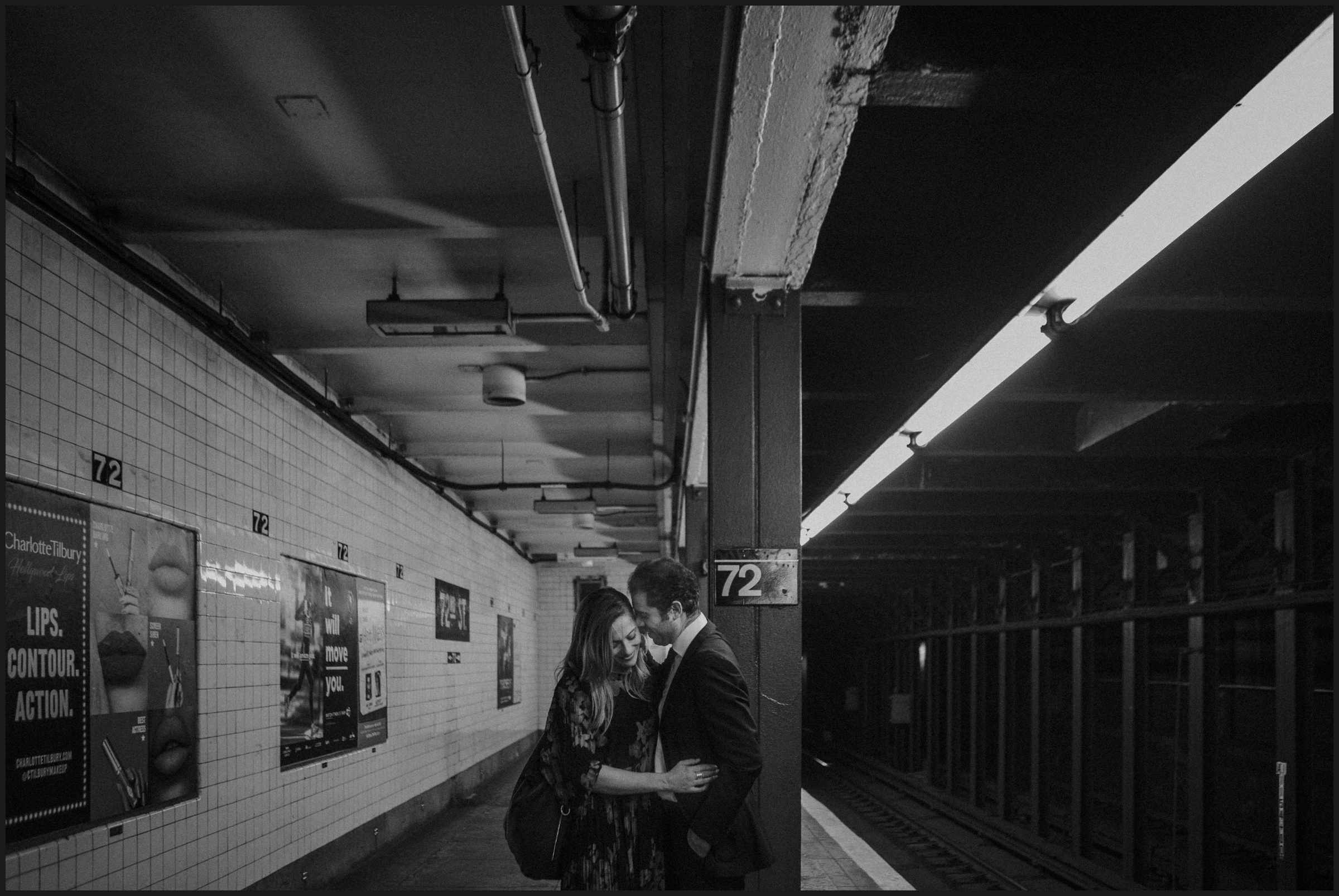 Romantic moment in a new york subway