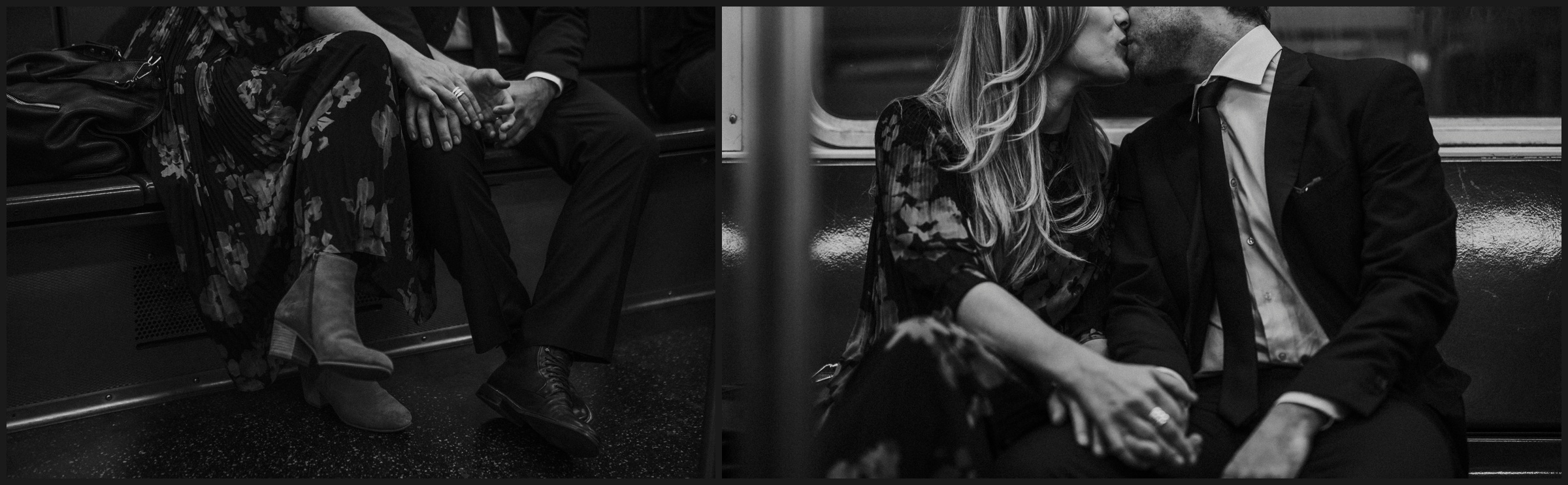engagement photos inside a new york train and details