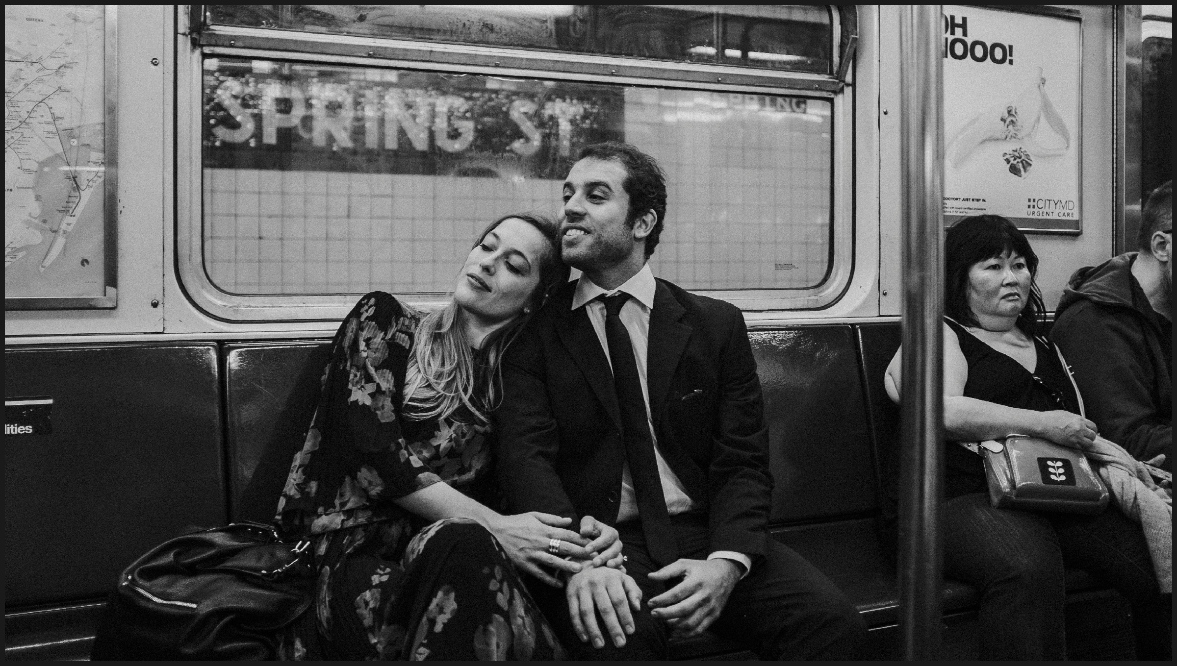 engagement photos inside a new york train